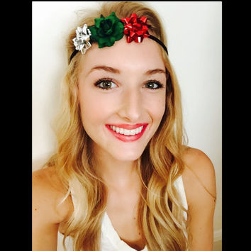 Red Green and Silver Christmas Trio Customize Your Own Holiday Crown Festival Headband Holiday Season Accessory Floral Crown Bow Headband