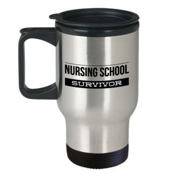 Travel Mug Gifts for Nurses - Nursing School Survivor Stainless Steel Insulated Travel Coffee Cup with Lid
