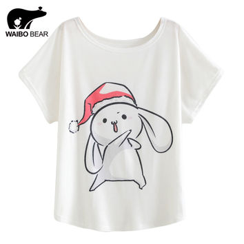 European Style Women T Shirt Cartoon Rabbit Pattern Christmas Hat Print Tee Shirts Batwing Sleeve Camisetas Mujer WAIBO BEAR