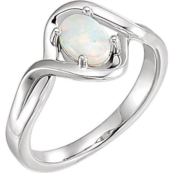Genuine Oval Australian Opal Freeform Infinity Ring in 14k Gold or Sterling Silver