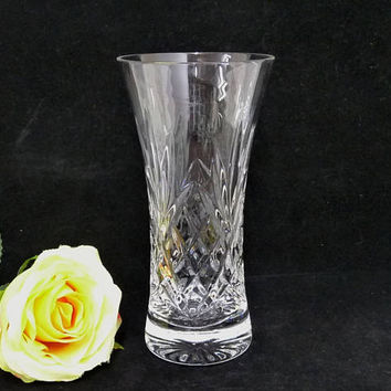 Small Glass Vase, Criss Cross and Fan Pattern, Posy Vase, Clear Glass Vase, Vintage Vase, Cut Glass Vase, Flower Display, Flower Arranging