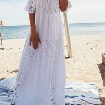 White Tulle Boat Neck Short Sleeve Bridesmaid Flowy Plus Size Elegant Maxi Dress