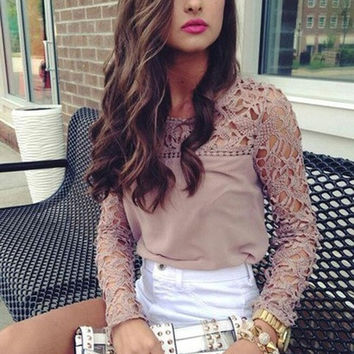 2014 New Womens Casual Long Sleeve Shirt Lace Crochet Emboriey Loose Tops Blouse = 1920107588