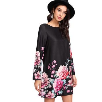 Flower Print Tunic Dress Multicolor Boat Neck Long Sleeve Straight Dress
