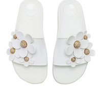 Marc Jacobs Daisy Pave Aqua Slide in White