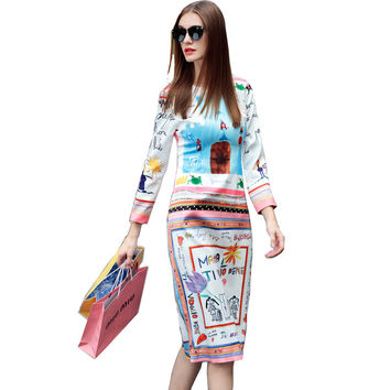 Runway Dress 2016 Summer New Fashion Brand Dresses Full Sleeve Fresh Graffiti Letters Print Designer Dress For Women