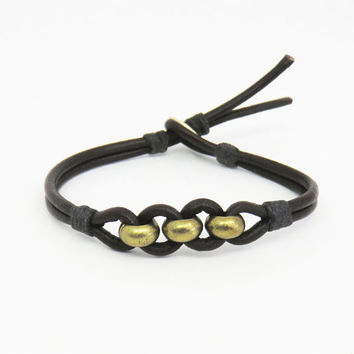 Men's bracelet - Brass beads on dark-brown leather - Mens jewelry - Gift for him - Bohemian boho Father's Day gift Dad birthday gift