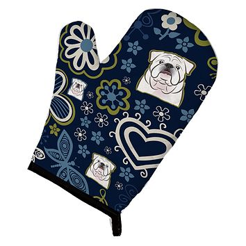 Blue Flowers White English Bulldog Oven Mitt BB5071OVMT