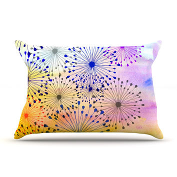 "Sreetama Ray ""Bursting Blossoms"" Yellow Purple Pillow Case"