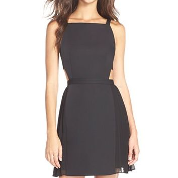 Women's BCBGMAXAZRIA 'Brielle' Backless Satin Fit & Flare Dress,