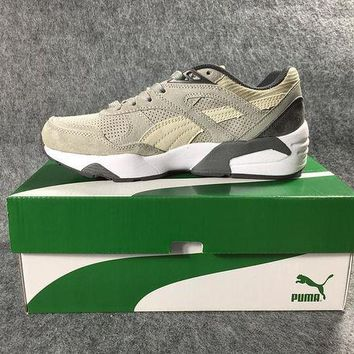 DCCKIJ2 Puma R698 AIIover Suede Running Sport Casual Shoes Sneaker Grey Black