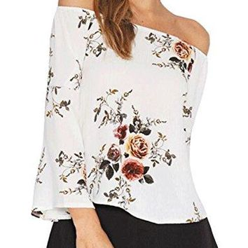 HONEY BOUTIQUE Womens Casual Floral Off The Shoulder Bell Sleeve Chiffon Blouse Shirt Tops