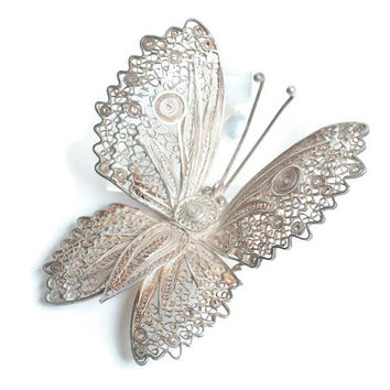 Large Silver Filigree Butterfly Brooch Peru Insect Jewelry Statement Brooch Vintage