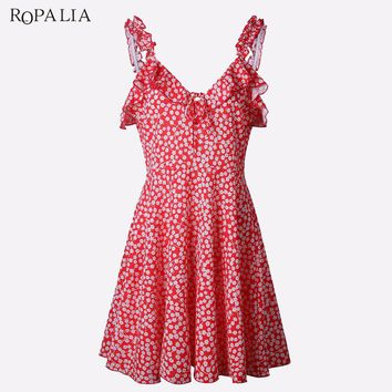 ROPALIA Brand Summer Dress Women Sexy Deep V-neck Halter Dress Sleeveless Print Vintage Bodycon Party Short Mini Dresses Vestido