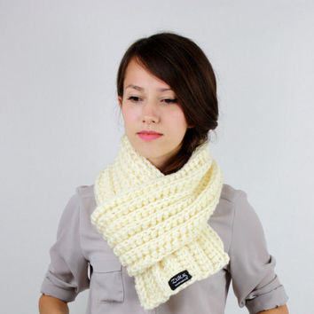 Hand Knit Scarf in Champagne Womens Scarf Mens Scarf Fall Winter Accessories