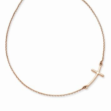 14K Rose Gold Large Sideways Curved Cross Necklace 19 Inch