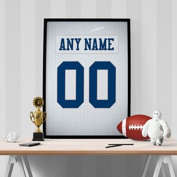 Dallas Cowboys White Jersey Poster - Print Personalized Select ANY Name & ANY Number