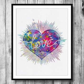Instant Download Love Heart Watercolor Art Digital Printable JPEG Wall Art For Girls Art Wall Decor