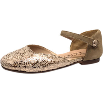 Papanatas by Eli Taupe Soft Suede Metallic Ankle Strap Ballet Sandal Flat Mary Jane