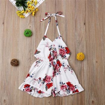 PUDCOCO Fashion Toddler Baby Girls Rompers Floral Sunsuit Summer Cotton Clothes Kids Out Sunsuit Outfits 1-6T