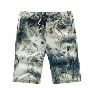 SHAN BAO Hawaiian Mens and woMens casual beach shorts summer loose waist thin flowers shorts 12 colors