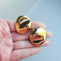 Signed TRIFARI Chunky 1980's Vintage Bright Gold Tone MODERNIST Earrings