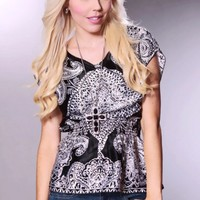 Black White Silky Paisley Print Smocked Waist Top