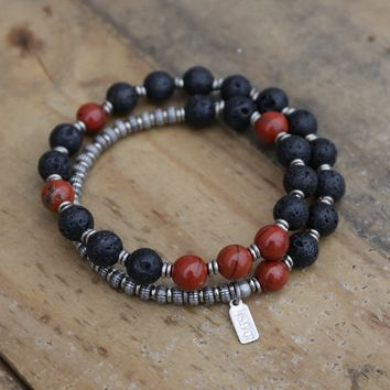 Lava Rock and Red Jasper Men's Wrap Bracelet, Root Chakra Bracelet
