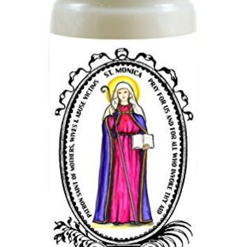 Saint Monica Patron of Abuse Victims, Mothers, Wives 8 Ounce Scented Soy Prayer Candle