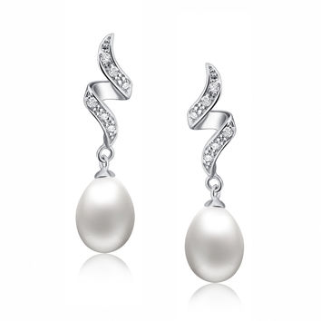 Sterling Silver Pear Drop Freshwater Cultured Pearl and Cubic Zirconia Earrings