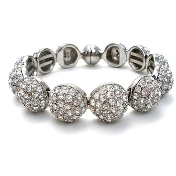 Silver Bangle Bracelet with Clear Rhinestones