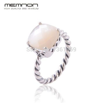 Memnon Fine jewelry European Style Mother of Pearl Rings for women Made of 925 Sterling Silver anillos fine jewelry RIP099