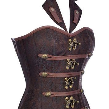 Brown Satin Leather Steampunk Corset with collar
