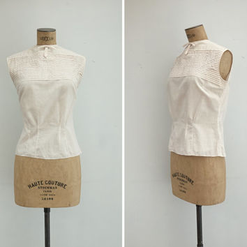 1950s Blouse - Vintage 50s Cotton Pintuck Blouse - Belinda Blouse