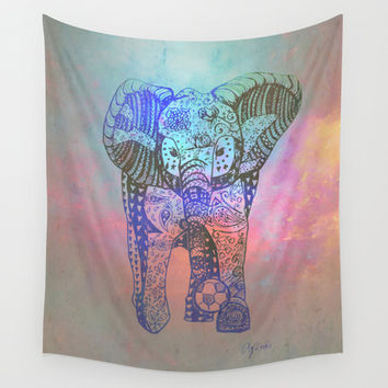 An Elephant Plays Soccer Wall Tapestry by DEPPO