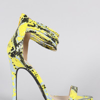 Qupid Snake Strappy Ankle Cuff Open Toe Stiletto Heel
