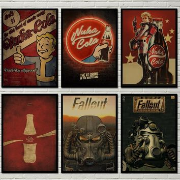 58 kind Fallout 4 Pip Boy Nukacola DLC Retro Painting Vintage Kraft Game Poster (11.6*16.5 Inch)