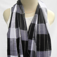 Plaid scarf black and white scarf unisex scarf cotton scarf gift trending item winter spring  pashmina wrap shawls for her for him