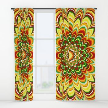 Colorful flower striped mandala Window Curtains by Natalia Bykova