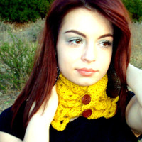 Ruffled Crochet Cowl - Crochet Neck Warmer - Crochet Collar - Yellow Scarf - Fashion Accessories - Gift for Her