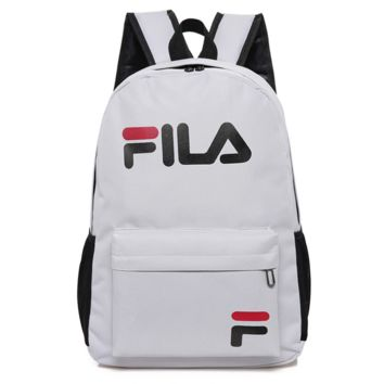 FILA New Fashion Letter Print Multifunction Travel Large Capacity Men Women Backpack Gray
