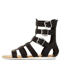 Black Bamboo Buckled Flat Gladiator Sandals