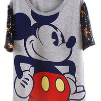 Womens Casual Loose Fit Cartoon Micky Stars Print Short T-Shirt