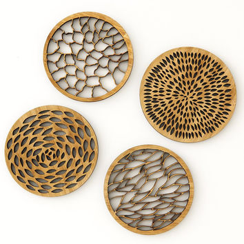 Abstract Bamboo Coasters