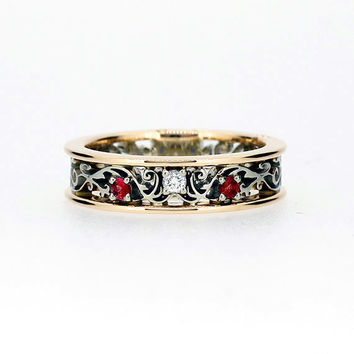 Red sapphire filigree ring, diamond ring, two tone, yellow gold, white gold, filigree engagement, red wedding band, diamond wedding