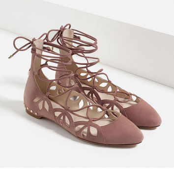 New Shallow Mouth Pointed Flat Sandals Bandage Nude Color Shoes