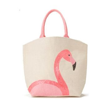 Palm Beach Expressions Sequin Icon Jute Tote Bag - Pink Flamingo