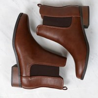 Amber Ankle Chelsea Bootie Low Heel in Brown