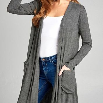 Charcoal Grey Open Front w/Pocket Long Cardigan