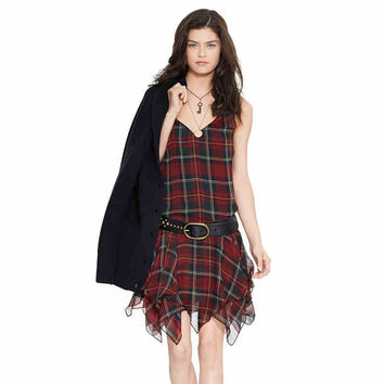 Red Plaid Sleeveless Asymmetrical Dress
